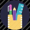 desk organizer, desk supplies, geometry case, pencil case, pencil holder