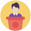 lecture, orator, public speaker, speechmaker, spokesman icon