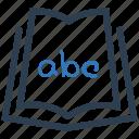 alphabet, book, education, school icon