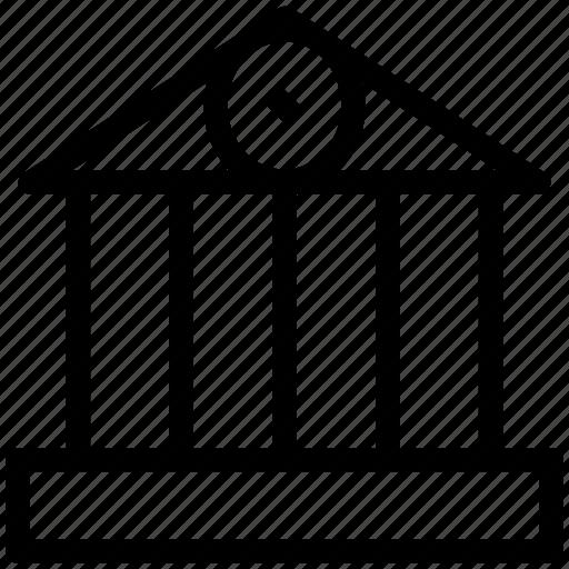 bank, building, court, real estate, school, school building icon
