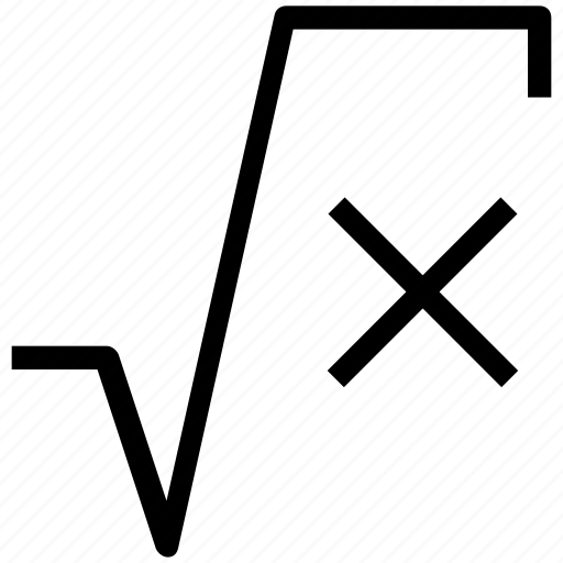 math formula, math sign, mathematics, root symbol, square root, square root of x icon