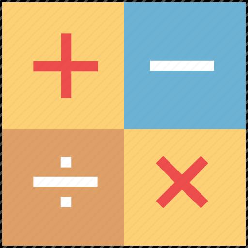 divide, math signs, math symbols, minus, multiplication, plus icon