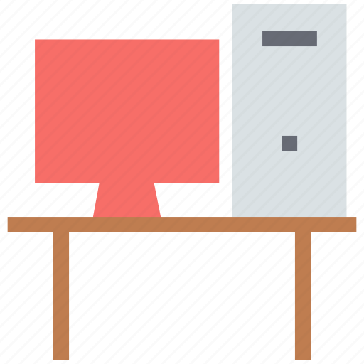 computer, computer desk, computer table, desktop computer, pc, workstation icon