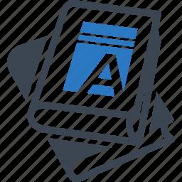alphabet book, education, school books icon