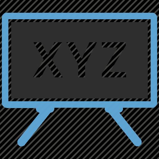 board, education, mathematics, school, xyz icon