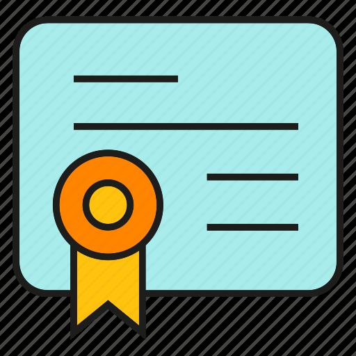 certificate, credentials, diploma, qualification, ribbon icon