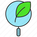 bio, biology, lab, leaf, magnifier icon