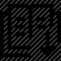 arrow, book, decrease, down, fall, loss, school icon