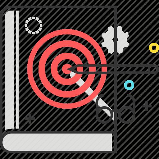 arrow, book, education, glasses, pen, target icon
