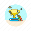 book, education, knowledge, learn, reward, science, study, triumph icon