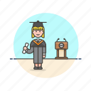 diploma, education, graduate, knowledge, learn, science, study, woman icon