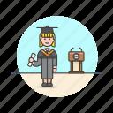caucasian, education, female, graduate icon
