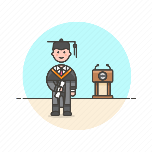 diploma, education, graduate, knowledge, learn, man, science, study icon
