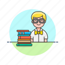 book, education, knowledge, learn, man, science, student, study icon