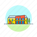 building, education, kindergarten, knowledge, learn, school, science, study icon