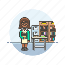 african, american, education, female, librarian icon