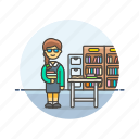 asian, education, female, librarian icon