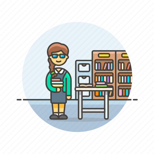 book, education, knowledge, learn, librarian, science, study, woman icon