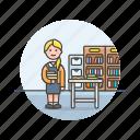 caucasian, education, female, librarian icon