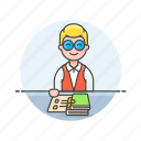 book, education, knowledge, learn, librarian, man, science, study icon