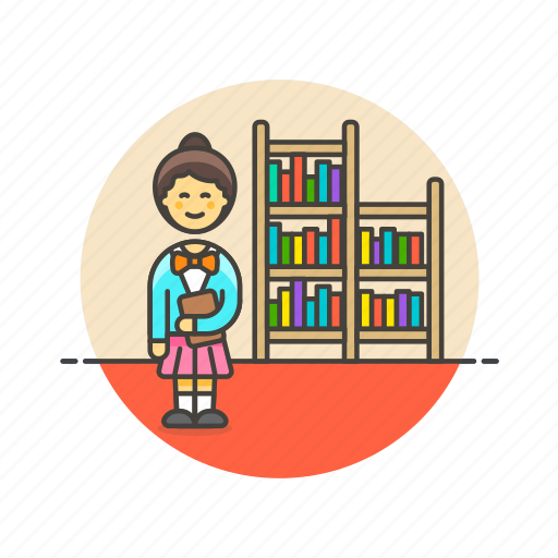 education, knowledge, learn, library, nerd, science, study, woman icon
