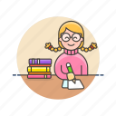 book, education, knowledge, learn, nerd, science, study, woman icon