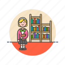 book, education, knowledge, learn, library, nerd, science, study icon