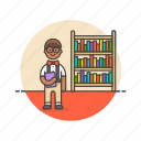 book, education, knowledge, learn, man, nerd, science, study icon