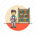 education, knowledge, learn, library, nerd, science, study icon