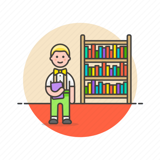 education, knowledge, learn, library, man, nerd, science, study icon