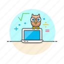 education, laptop, owl, study icon