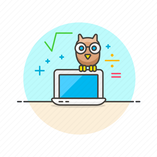 education, knowledge, laptop, learn, macbook, owl, science icon