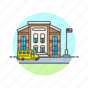 building, education, knowledge, learn, primary, school, science, study icon
