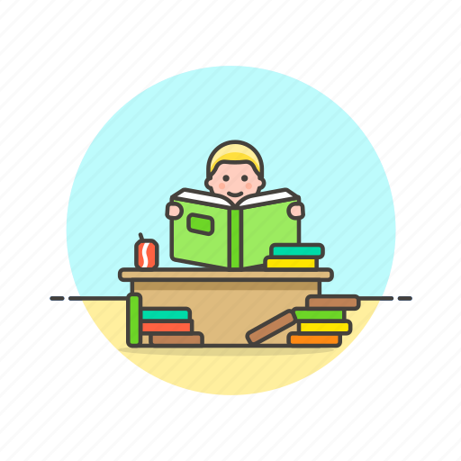 education, knowledge, learn, man, read, science, student, study icon
