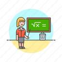 chalkboard, education, knowledge, learn, science, study, teacher, woman icon