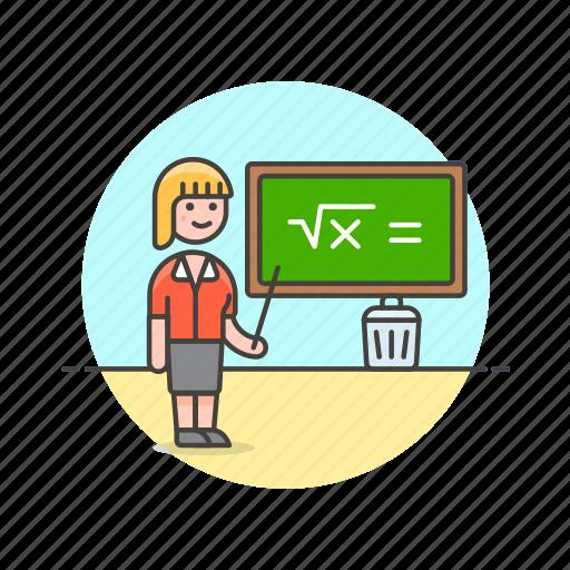 chalkboard, education, knowledge, learn, science, study, teacher, woman icon