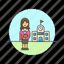 asian, education, female, teacher icon