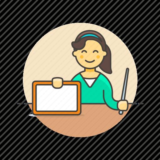 board, education, knowledge, learn, science, study, teacher, woman icon