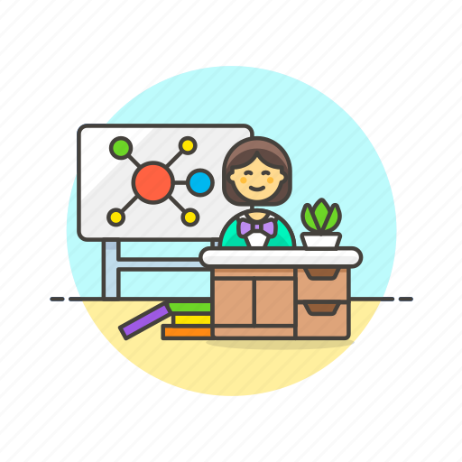 education, knowledge, learn, midmap, science, study, teach, woman icon