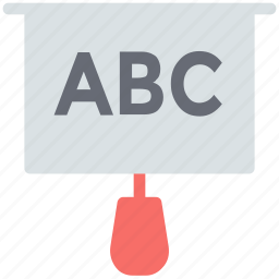 abc chart, alphabets, basic education, folding chart, projection screen icon