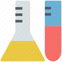 lab accessories, lab experiment, lab glassware, sample tube, science, testtube, volumetric flask icon