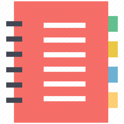 diary, jotter, notebook, notepad, stationery, steno pad, writing book icon