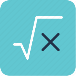algebra formula, mathematical sign, mathematics, root of x, square root icon