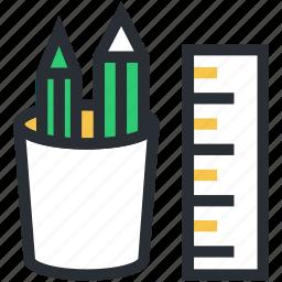 pen cup, pencil case, pencil holder, pencil pot, stationery holder icon