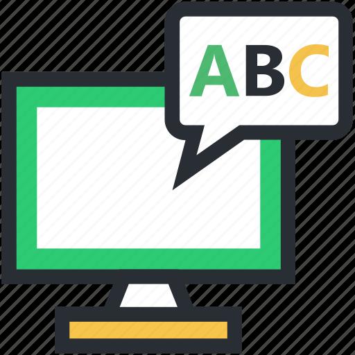 english class, english learning, english study, monitor, screen icon