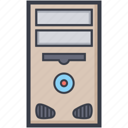 computer, cpu, desktop pc, pc, pc tower icon