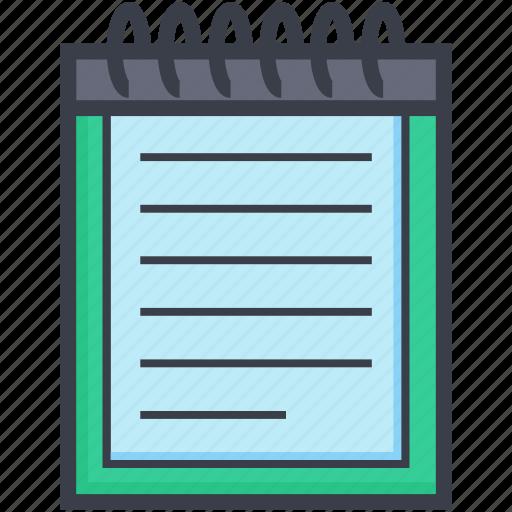 data, notepad, notes, plan, steno pad icon