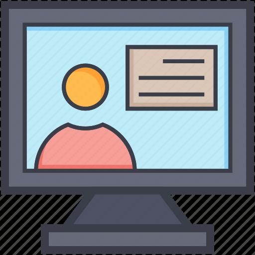 announcer, monitor screen, newscaster, online teacher, reporter icon