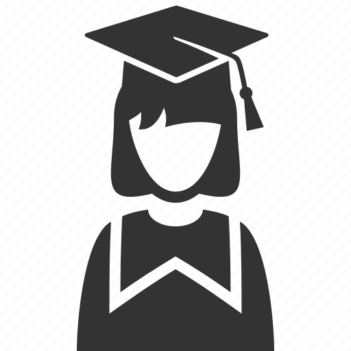 education, graduate, graduation, mortar board, school, schoolgirl, student icon