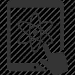 atom, chemistry, elearning, online education, school, study, tablet icon